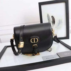 Dior Bobby Round Flap Bag in Black Leather